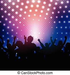 folla, luci disco, fondo, festa, 2102