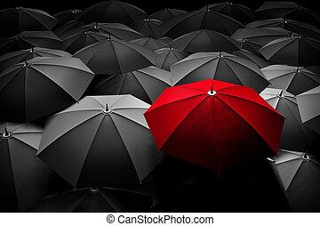 folla., ombrello, differente, stare in piedi, leader., rosso, fuori