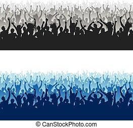 folla, seamless, struttura, alto, applauso, silhouette, qualità