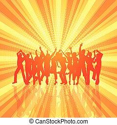 folla, starburst, 0606, retro, fondo, festa