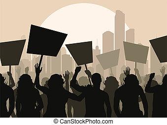 folla, vettore, protesters, fondo