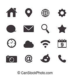 fondamentale, domanda, vettore, icone fotoricettore