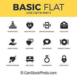 fondamentale, set, amore, icone