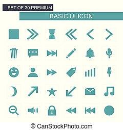 fondamentale, set, vettore, verde, icone