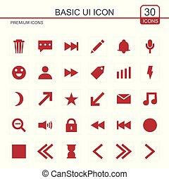 fondamentale, vettore, set, rosso, icone