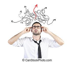 fondare, uomo affari, confuso, modo, soluzione