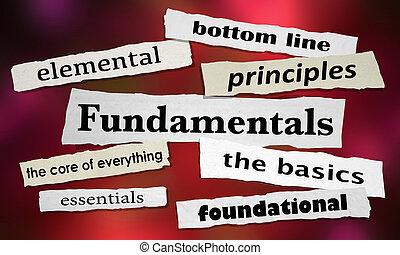 fondazione, basi, fondamenti, illustrazione, giornale, titoli, 3d