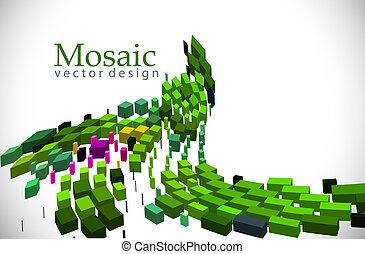 fondo, 3d, mosaico