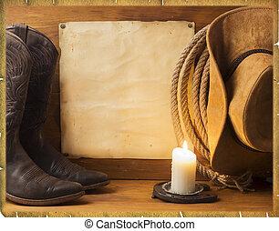 fondo, americano, cowboy, vendemmia, vestiti