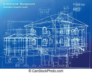 fondo., architettonico, vettore, cianografia