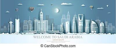 fondo., architettura, arabia, viaggiare, saudita, asia, punto di riferimento