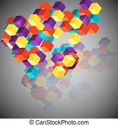 fondo, astratto, cubes., 3d