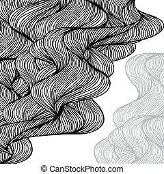 fondo., astratto, hand-drawn, onde