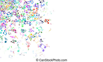 fondo, astratto, musica, note., colorito
