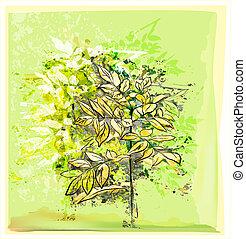 fondo, astratto, naturale, albero, verde, giovane