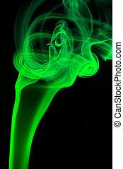 fondo, astratto, verde, fumo, nero, sopra