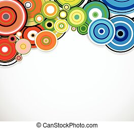 fondo., astratto, vettore, anelli, colorito