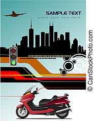 fondo., astratto, vettore, ciao-tecnologia, illustrazione
