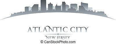 fondo, atlantico, orizzonte, città, jersey, nuovo, silhouette, bianco