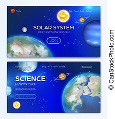 fondo, atterraggio, sistema, solare, pagina