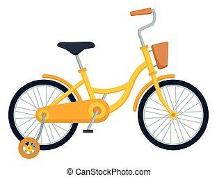fondo., bambini, bicicletta, illustrazione, bicicletta, bianco, vettore, capretto