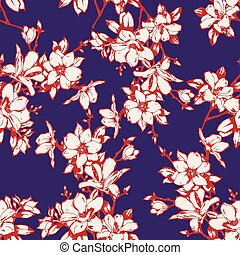 fondo, bello, ramoscelli, sketchy, seamless, magnolia