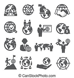 fondo, bianco, affari, set, icone, globale