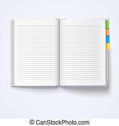 fondo., bianco, quaderno, isolato