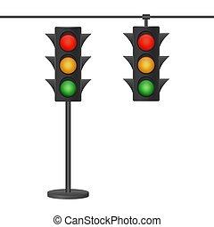 fondo., bianco, semafori, illustration., isolato, vettore, casato