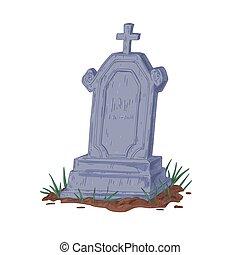 fondo, bianco, sepoltura, pietra tombale, lapide, grave., vendemmia, tomb., illustrazione, cristiano, fesso, cross., pietra, antico, monumento, isolato, dritto, hand-drawn, pietra tombale, vettore, vecchio