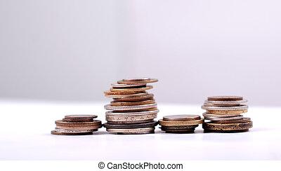 fondo, bianco, sopra, soldi, monete