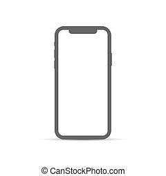 fondo., bianco, telefono, segno., appartamento, isolato, moderno, smartphone, icona, semplice