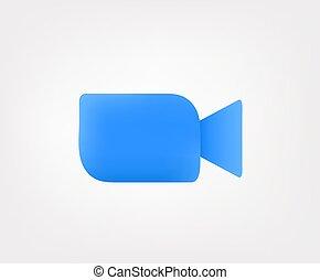 fondo, bianco, video, icona, isolato, macchina fotografica