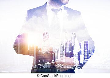fondo, businessperson, multiexposure, città
