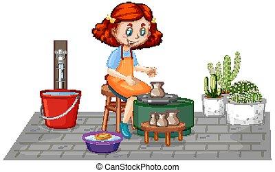fondo, carattere, ceramica, bianco, ragazza, cartone animato, fabbricazione, argilla