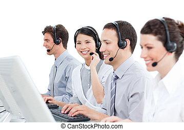 fondo, centro, contro, diverso, gruppo, lavorativo, chiamata, agenti, cliente, bianco, servizio