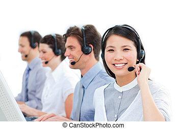 fondo, centro, contro, gruppo, lavorativo, chiamata, agenti, cliente, bianco, servizio, unito