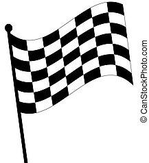 fondo, checkered, frocio, ondeggiare, bianco