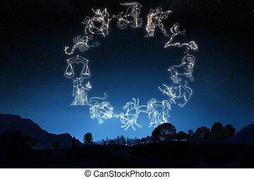 fondo., cielo, sign's, zodiaco