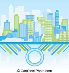 fondo, città, verde blu