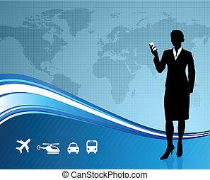 fondo, comunicazione affari, globale, femmina, viaggiatore