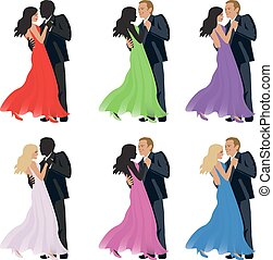 fondo., coppia, bianco, vector., ballo