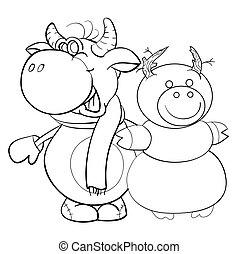 fondo, corna, coloritura, vettore, anno, toro, sciarpa, pupazzo di neve, cartone animato, isolato, manopole, neve, foggiato, oggetto, schizzo, illustrazione, simbolo, bianco