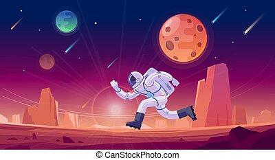 fondo., correndo, viola, vettore, spazio, astronauta, pianeta, un po', rosso, illustrazione, discoveries, nuovo