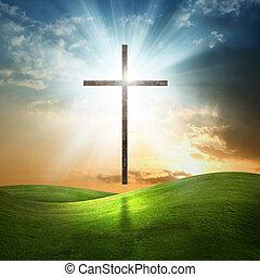 fondo., cristiano, croce, erboso