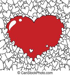 fondo, cuore, giorno valentine