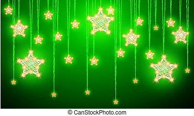 fondo, decorazioni, verde, stelle, appendere, natale