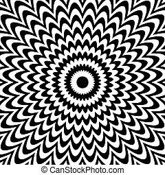 fondo., deformation., nero, bianco, radiale, linee, astratto