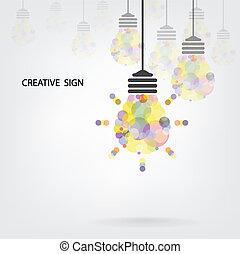 fondo, disegno, creativo, bulbo, luce, idea, concetto