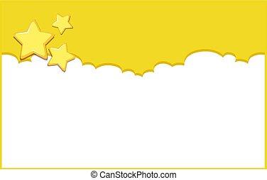 fondo, disegno, sagoma, giallo, stelle